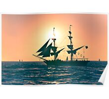 Stylized photo of the Tall Ship Irving Johnson at sunset off Dana Point, CA US. Poster