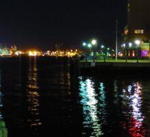 Night scene on the Elizabeth River, Between Norfolk and Portsmouth, VA Sticker