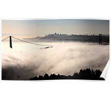 San Francisco Skyline fog rolling in morning sunrise Poster