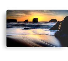 Sunset Bandon Oregon beautiful rock formations USA Metal Print