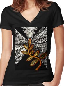 Black to Gold (some seek, some dissolve) Women's Fitted V-Neck T-Shirt