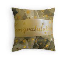 White Congratulations Throw Pillow