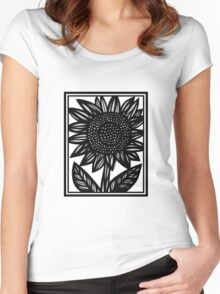 Emulate Flowers Black and White Women's Fitted Scoop T-Shirt