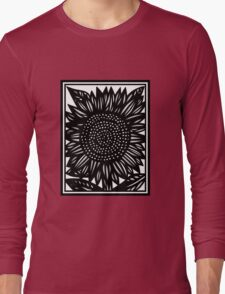Conciliate Flowers Black and White Long Sleeve T-Shirt