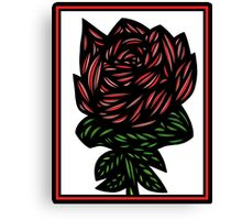 Litterateur Flowers Red Green White Canvas Print