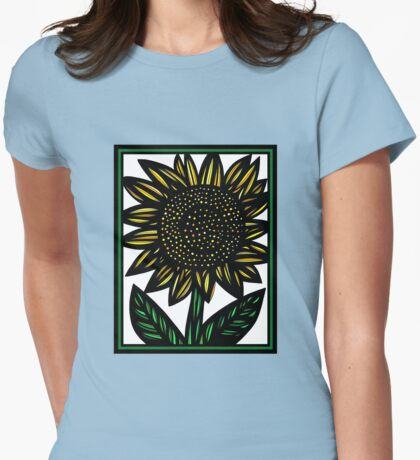 Panacea Flowers Yellow Green Black Womens Fitted T-Shirt