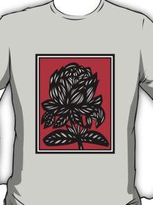 Myriad Flowers Red White Black T-Shirt
