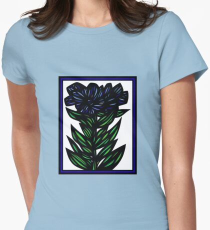 Inundate Flowers Blue Green White Womens Fitted T-Shirt