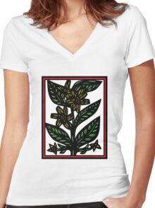 Immure Flowers Yellow Green Red Women's Fitted V-Neck T-Shirt