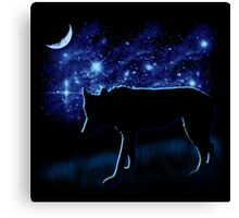 Wolf Stalking by Moonlight Canvas Print