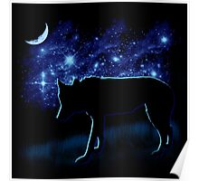 Wolf Stalking by Moonlight Poster