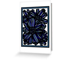 Elixir Flowers Blue White Black Greeting Card