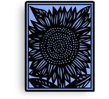 Brevity Flowers Blue Black Canvas Print