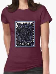 Abattoir Flowers Blue White Black Womens Fitted T-Shirt
