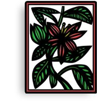 Susurrous Flowers Red Green White Canvas Print