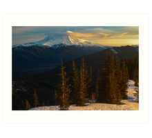 Sunrise View of Mount Rainier Art Print