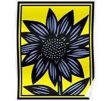 Clandestine Flowers Yellow Blue Black Poster