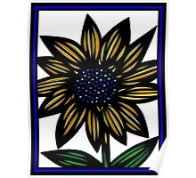 Cloister Flowers Blue Yellow White Poster