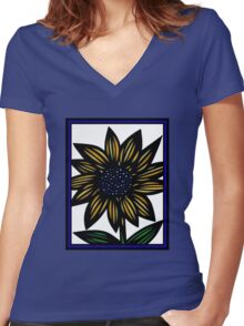 Cloister Flowers Blue Yellow White Women's Fitted V-Neck T-Shirt