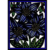 Facsimile Flowers Blue Green White Photographic Print