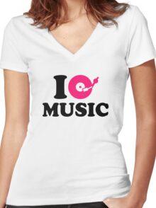 I love music DJ Women's Fitted V-Neck T-Shirt