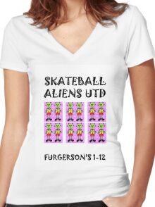 SKATEBALL  ALIENS UTD Women's Fitted V-Neck T-Shirt