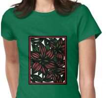 Ethereal Flowers Red Green White Womens Fitted T-Shirt