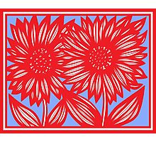Effusive Flowers Red Blue White Photographic Print