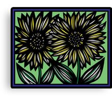 Andante Flowers Yellow Blue Canvas Print
