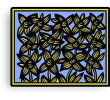 Ambrosia Flowers Blue Yellow Black Canvas Print