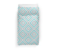 Blue, Gray And White Diamond Print Duvet Cover