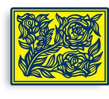 Lassitude Flowers Yellow Blue Canvas Print