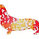 Dachshund Lovers - Abstract Red by dvampyrelestat