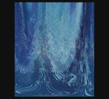 Blue Wave Ripple Pattern Abstract Design Art Kids Tee