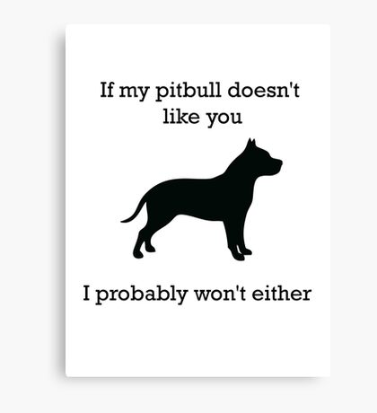 If my pit bull doesn't like you  Canvas Print