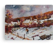 First snow in Chassepierre  Canvas Print