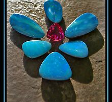 Black Opals/Boulder Opals and Tourmaline by Elizabeth Burton