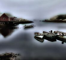 Foggy Fishing Village  by Elaine  Manley