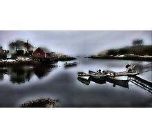 Foggy Fishing Village  Photographic Print