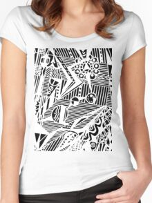 Circle 5 - Geometric - White Variation Women's Fitted Scoop T-Shirt