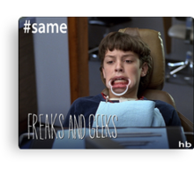 "Sam Weir ""Freaks and Geeks"" Teeth Shirt Canvas Print"