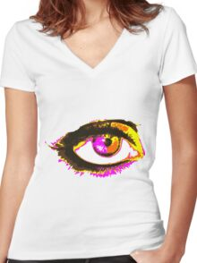 Look me in my eye Women's Fitted V-Neck T-Shirt