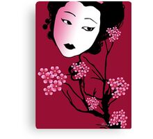 Geisha-Sherry Blossom Canvas Print