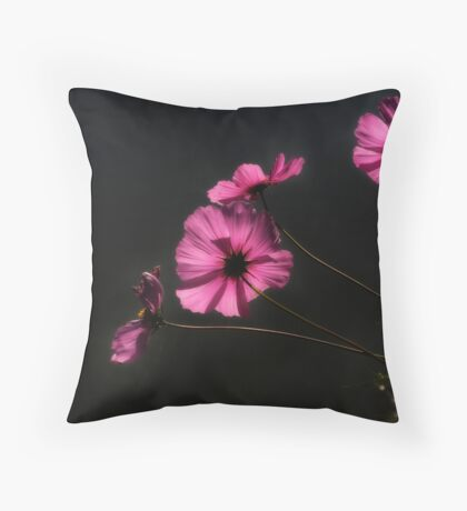 Backlit Pink Flowers Throw Pillow