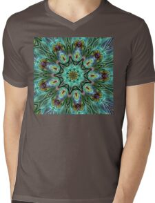 Colorful Peacock Feather Kaleidoscope Mens V-Neck T-Shirt