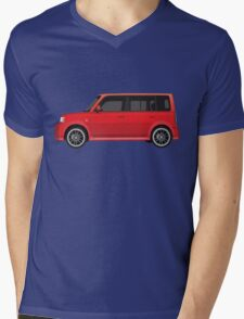 Vectored Boxcar Red Mens V-Neck T-Shirt