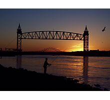 Striper Fisherman on the Cape Cod Canal at sunrise. Photographic Print