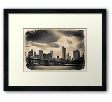 Postcard, sepia skyline of New York City from the East River Framed Print