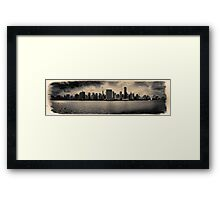 Sepia skyline of Manhattan from the East River Framed Print