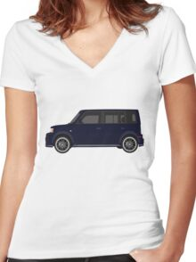 Vectored Boxcar Dark Blue Women's Fitted V-Neck T-Shirt